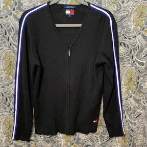 TOMMY HILFIGER Womens Large Black Zip Up Sweater